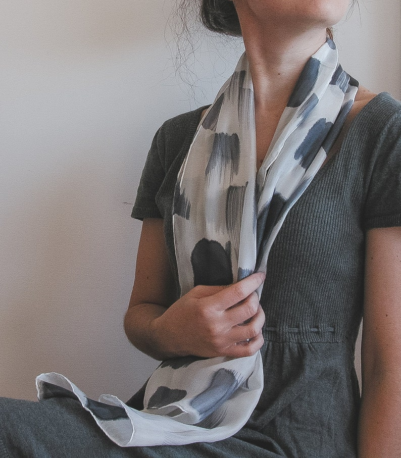 Handpainted Silk Scarf in Black and white minimalist fashion image 0