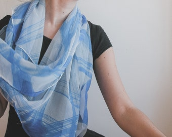 Hand Painted Chiffon scarf in white and forget me not blue