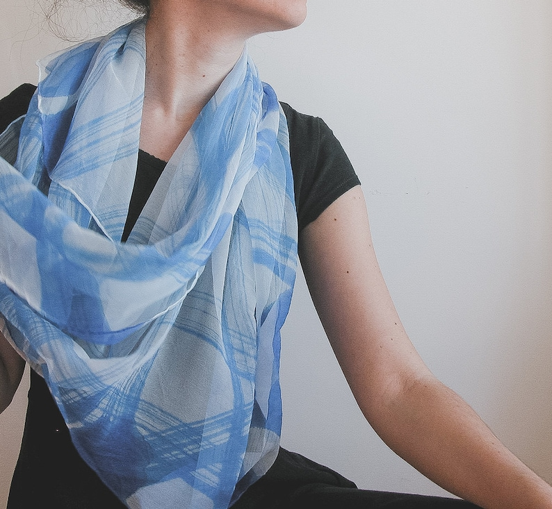 Hand Painted Chiffon scarf in white and forget me not blue image 0