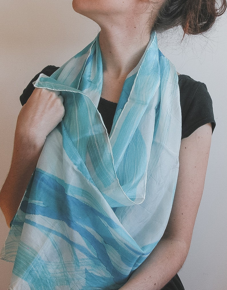 Lilac and blue Silk Scarf  soft shades in white and baby blue image 0