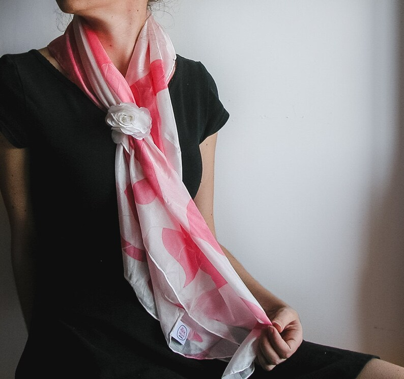Pink and White Patterned Pongee Silk Shawl/ Handmade Fade image 0
