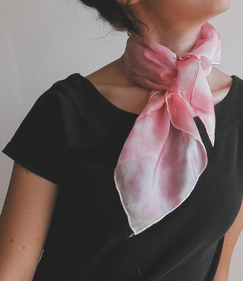 Hand painted silk neckerchief  pink fashion scarf image 0