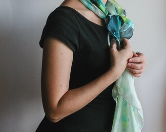 Hand Painted Silk cover-up, square silk shawl