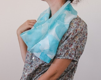 Square Silk Shawl, Hand Painted scarf in babyblue