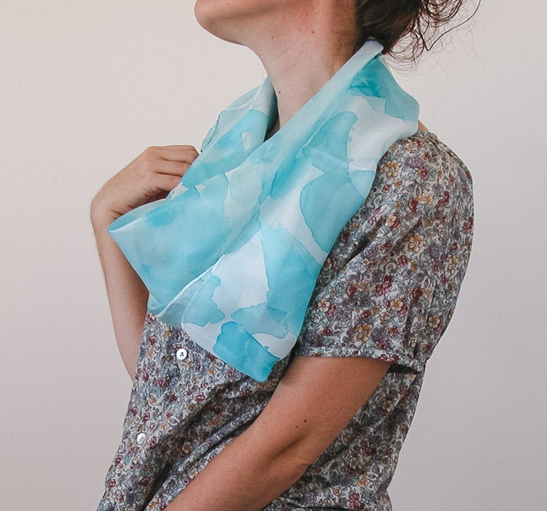 Square Silk Shawl Hand Painted scarf in babyblue image 0