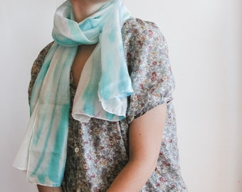 Pastel Color Silk Scarf - handpainted fashion scarf