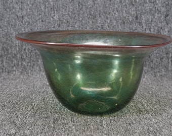 Vintage Hand Blown Glass Bowl Signed Pesch 1993
