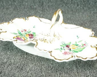 """Vintage T.P.M. Porcelain Two Part 13.5"""" X 9"""" Relsih Dish With Handle"""