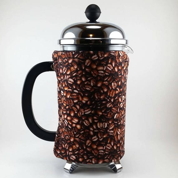 French Press Cozy Coffee Beans Insulated Bodum Wrap 8 Cup Etsy