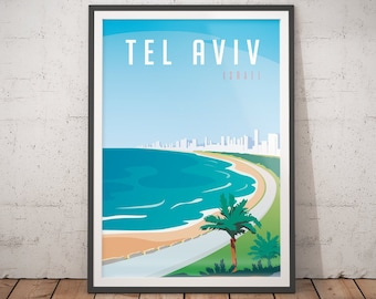 Charmant Tel Aviv Poster   Vintage Travel Poster   Minimalist Art Prints | Teen Girl  Room Decor | Travel Art Deco Posters