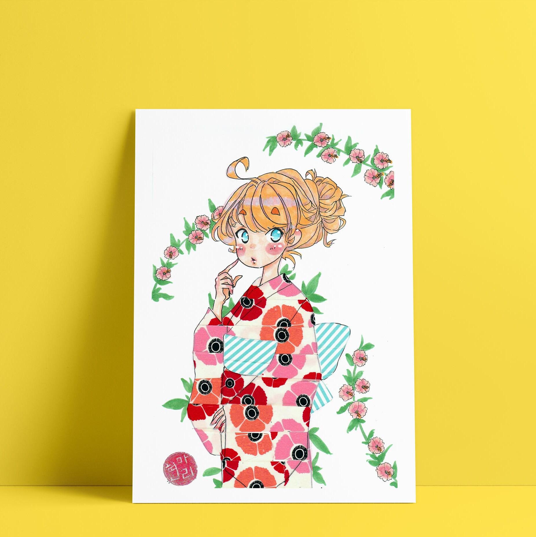 Kimono Cherry Blossom / anime art / anime art style / Japanese Wall ...