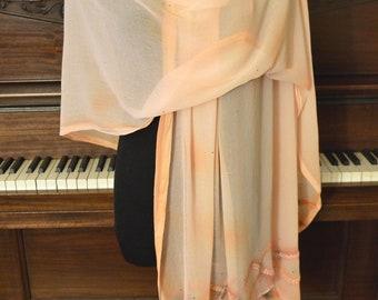 Peachy chiffon embroidered shawl scarf wrap