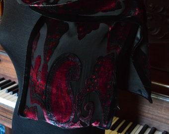 Burnout velvet and silk burgundy paisley pattern scarf