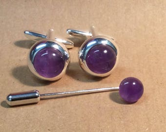 Natural Handmade Amethyst lace 925 silver plated Cufflink for man X14826