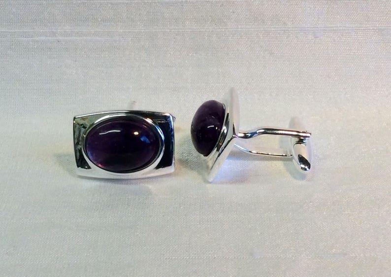 Amethyst Rectangular Cufflinks in a Silver finish Matching Tie Pin optional.