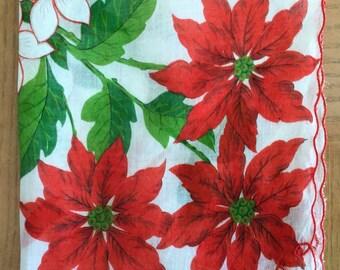 Vintage 1960s white cotton floral Christmas handkerchief embroidered red poinsettias greenery lace edging retro kitschy Xmas hankie
