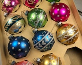 Vintage glass ornaments - Shiny Brites - USA - American made glass balls - mid century- mica - glitter - hearts - pink - blue - gold - green