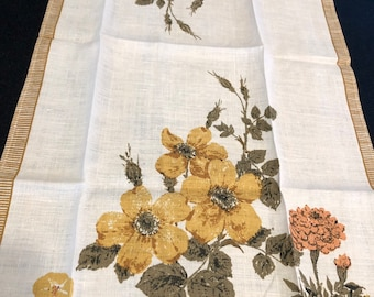 Unused New Vintage 1960s Designer Luther Travis Orange Rectangle 47 X 50 Fallani and Cohn MCM Linen Table Cloth Olive Yellow