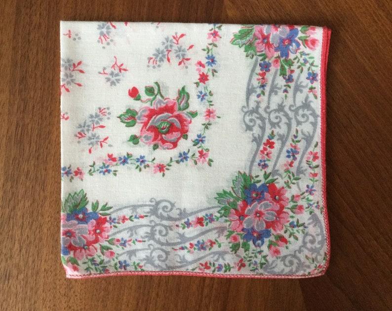 retro kitschy rockabilly midcentury hankies Vintage 1960s 3 cotton floral handkerchiefs pink blue green flowers scalloped edges