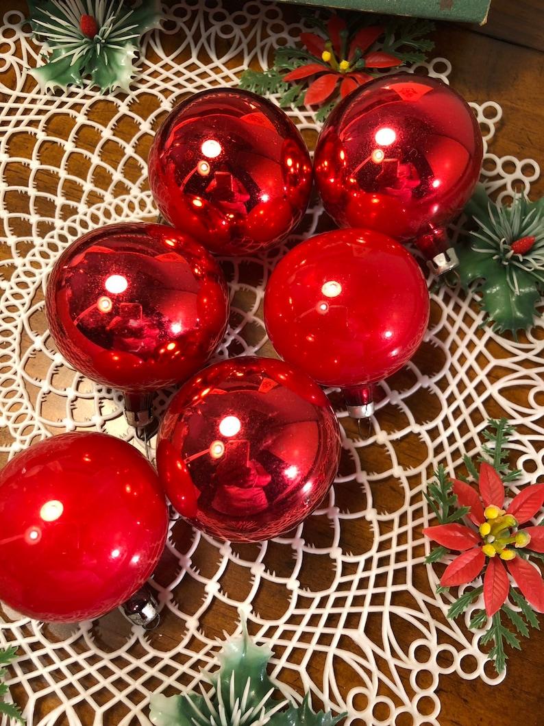 fantasia mid century glass christmas ornaments dozen balls Vintage all red glass ornament lot kitschmas poland retro christmas