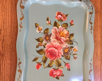 Hand painted Tole tray - Turquoise large Vintage rectangle tray - Pink Flowers on Turquoise metal - Mid Century Tole Tray - Floral Tray