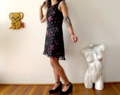 s 90s flower power sleeveless dress vintage 90s sheer dress tank dress mini party dress - size small mini dress black sheer dress mesh dress