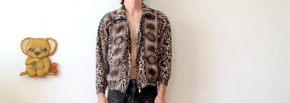 ml 80s 90s silk animal print jacket zip up bomber jacket silk bomber jacket silk pattern jacket zip up jacket zebra print flower print
