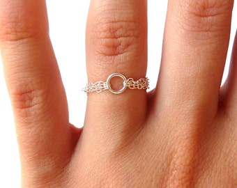 Triple ring chain with Silver 925 ring