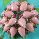 Pink Milk Glass Vintage Brooch