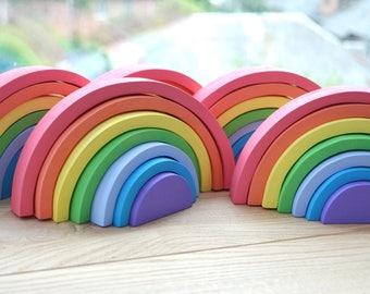 Wooden pastel Rainbow (small), Montessori, Waldorf RAINBOW, Christmas gift baby | Stacker puzzle | Baby toy | Wood puzzle