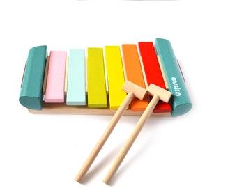 Montessori Toy, Music Toy, Wooden Xylophone, Organic Baby Toy, Wooden Rainbow Xylophone, Nursery Decor