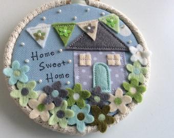 New home hoop | Home sweet home hoop| Hoop Art | Handsewn embroidery hoop | Wall decor |