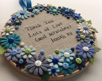 Hoop art | Handsewn embroidery hoop | Mother's Day gift | Birthday gift | Anniversary gift | Thank you gift | Teacher gift | Home decor |