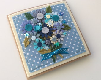 Mother's Day card   Special occasion card   Flower card   Handsewn Card   Personalised   Mum   Birthday  