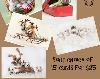 Holiday Cards featuring Bulldog Puppies Variety Pack