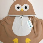 Baby, Toddler & Kids Tan Owl - Fleece Poncho and Car Seat Poncho (all in one)