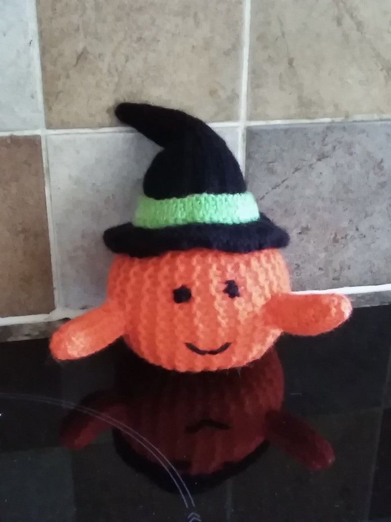 b2034d1c7 Knitted halloween pumpkin witch toy /decoration | Etsy