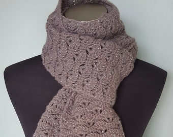 Charcoal grey shell pattern scarf with shimmer accents