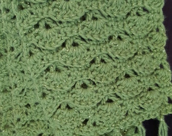 Handmade lime green scarf with shimmer accents