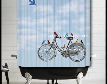 Vintage Bicycle With Colorful Birds Shower Curtain