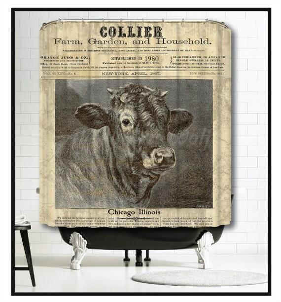 Custom Cow Shower Curtain Farmhouse Chic Decor Cattle Bull