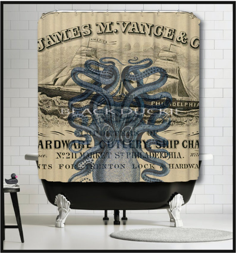 Navy Octopus Tall Ship Shower Curtain Blue Nautical