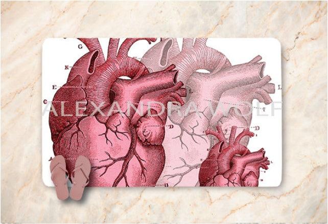 Roten Menschenherzen Badematte Anatomie Badematte | Etsy