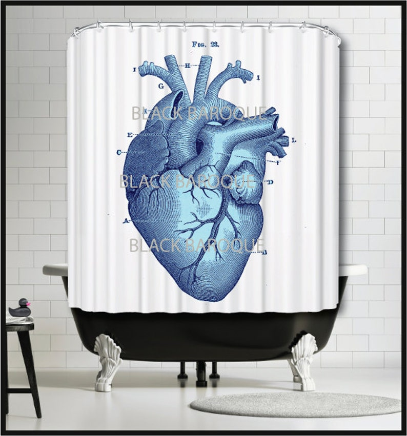 Blue Human Heart Shower Curtain Medical Science Anatomy
