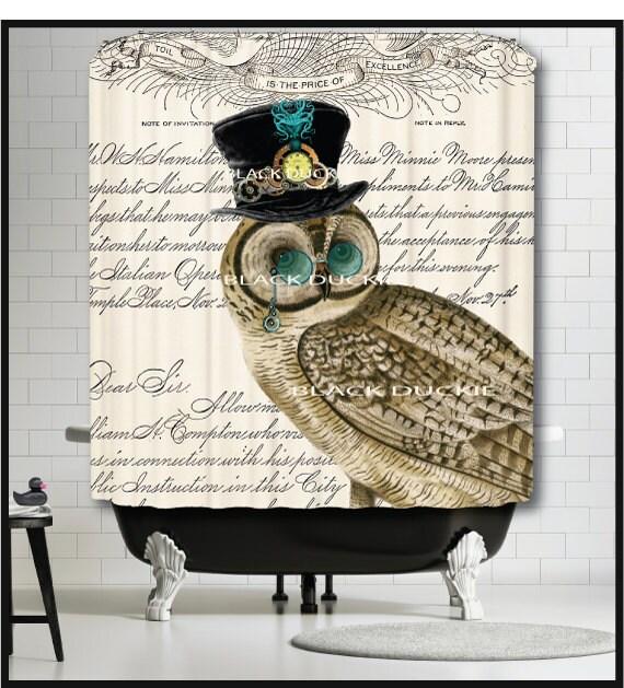 Steampunk Owl Shower Curtain Bird Top Hat Clock Watch