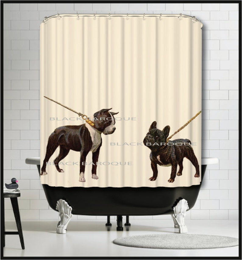 Boston Terrier French Bulldog Shower Curtain Dog Puppy