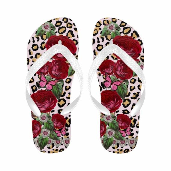 d15c06f43055ef Leopard Flip Flops Red Roses Flip Flops Diamond Hearts