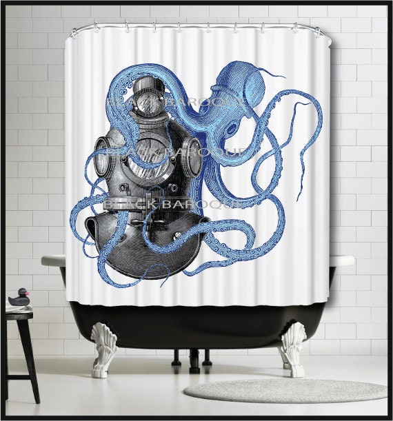 Vintage Diver Helmet Shower Curtain Octopus