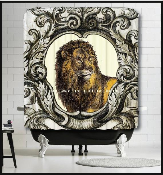 Lion Shower Curtain Safari Animals Decor With Scroll