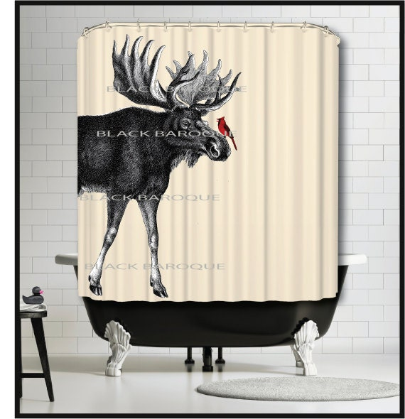 Moose Cardinal Shower Curtain Animal Curtains